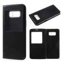 Samsung Galaxy S8+ / S8 Plus Tok Ablakos Notesz Tok Window View Style Fekete