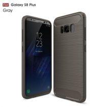 Samsung Galaxy S8+ / S8 Plus Karbon - Szálcsiszolt Mintás Szilikon Tok Ütésálló Kivitel Szürke