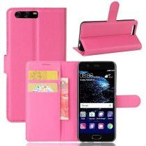Huawei P10 Notesz Tok Szilikon Belsővel Kártytartóval Kitámasztható Pink