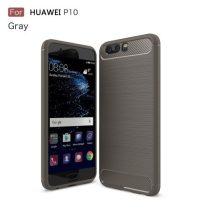 Huawei P10 Karbon - Szálcsiszolt Mintás Szilikon Tok Ütésálló Kivitel Szürke