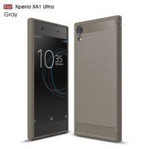 Sony Xperia XA1 Ultra Szilikon Tok Szálcsiszolt Ütésálló Kivitel Szürke