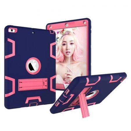 iPad 9.7 (2017) Tok Ütésálló 2in1 Heavy Duty Series RMPACK Kitámasztható Sötétkék/Pink