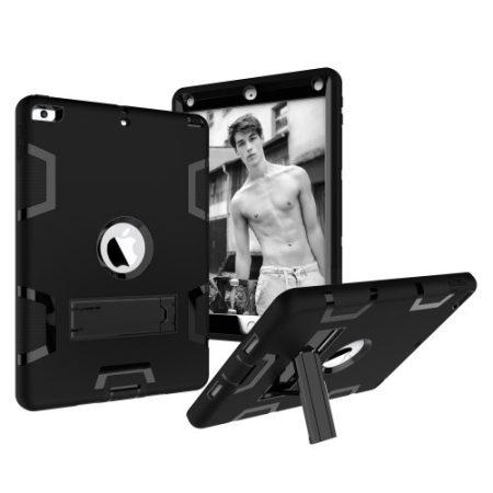 iPad 9.7 (2017) Tok Ütésálló 2in1 Heavy Duty Series RMPACK Kitámasztható Fekete