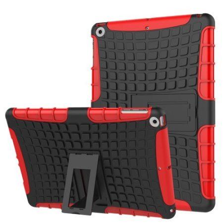iPad 9.7 (2017) Ütésálló Tok 2in1 Tire Slip Kitámasztható Csúszásgátlókivitel Piros